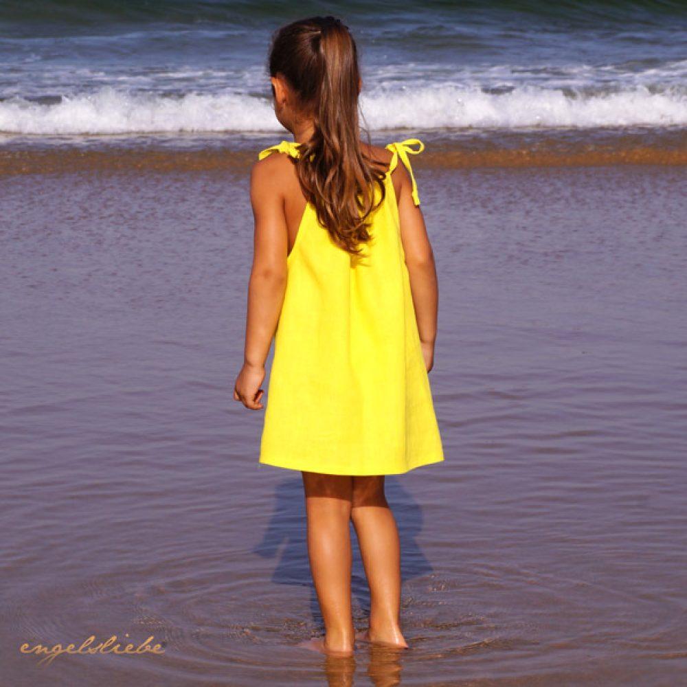 Leinen Kleid Zitronengelb
